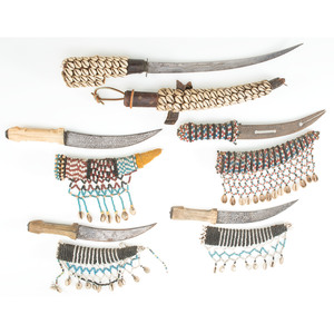 Five African Daggers with Beaded Scabbards