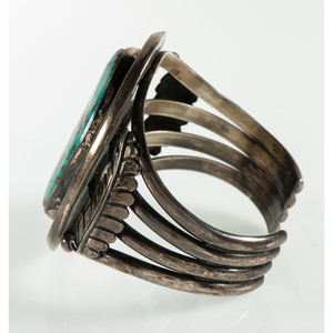 Navajo Silver and Turquoise Cuff Bracelet, From the Estate of Krystal E. Nitschke, Chicago, Illinois