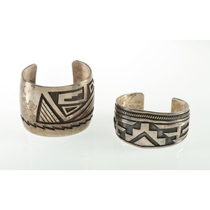Two Hopi Silver Overlay Cuff Bracelets, From the Estate of Krystal E. Nitschke, Chicago, Illinois