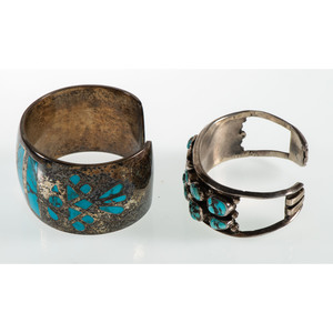 Wes Craig (Dine, 20th Century) Navajo Turquoise and Silver Channel Inlay Cuff Bracelet PLUS, From the Estate of Krystal E. Nitschke, Chicago, Illinois
