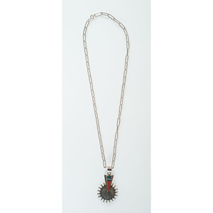 Richard Begay (Dine, 1943-2013) Navajo Sterling Silver Overlay with Coral Inlay Necklace