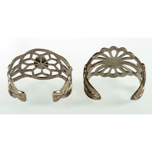 Navajo Silver Sand Casted Cuff Bracelets, From the Estate of Krystal E. Nitschke, Chicago, Illinois