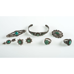 Silver and Turquoise Curio Jewelry, From the Estate of Krystal E. Nitschke, Chicago, Illinois