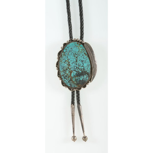 Robert Secatero (Dine, 20th century) Navajo Sterling Silver and Turquoise Bolo Tie