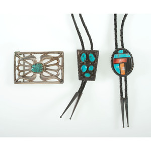 Navajo Silver and Turquoise Bolo Tie and Belt Buckle PLUS, From the Estate of Krystal E. Nitschke, Chicago, Illinois