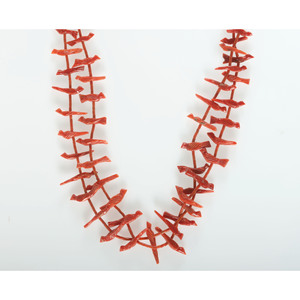Zuni Double-Strand Carved Coral Fetish Necklace