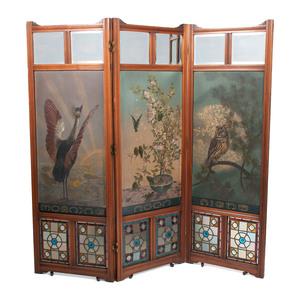 Painted Three-Panel Folding Screen