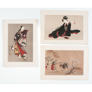 Assorted Japanese Woodblock Prints, Plus