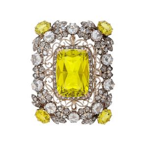 18 Karat Yellow Gold and Silver Brooch/Pendant