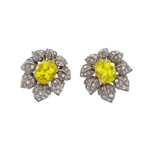Fred Leighton Tourmaline and Diamond Earrings