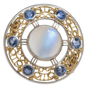 Louis Comfort Tiffany Sapphire and Moonstone Brooch