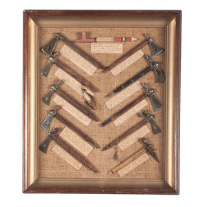 Award Winning Display of Miniature Pipe Tomahawks, From the Collection of Art Gerber