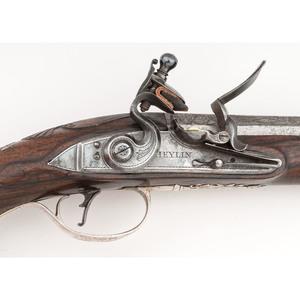 Classic Silver-Mounted Flintlock Pistol by Joseph Heylin Circa 1750's