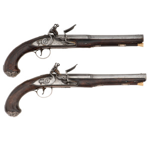Pair of 18th Century Silver Mounted English Flintlock Pistols by Smith