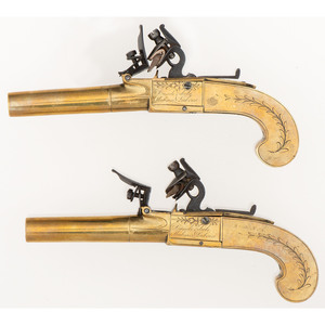 Cased Pair of All-Brass Turn Barrel Flintlock Pistols