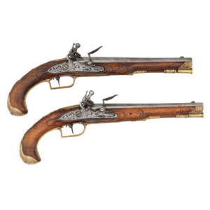 Pair of 18th Century German Flintlock Pistols by F. Petter