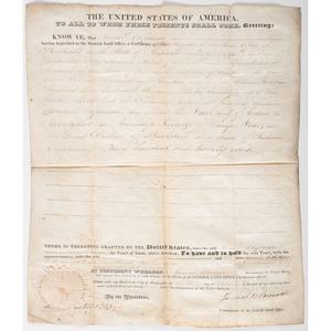 James Monroe Presidential Signed Land Grant, 1823