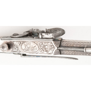 Silver Mounted Scottish Flintlock Ramhorn Butt Pistol