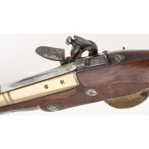 British Brass Barrel Blunderbuss with Folding Bayonet