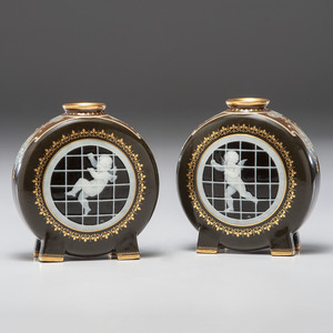 A Fine Pair of Minton Pâte-sur-Pâte Moon Flasks