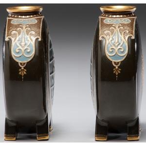 A Fine Pair of Minton Pâte-sur-Pâte Moon Flasks