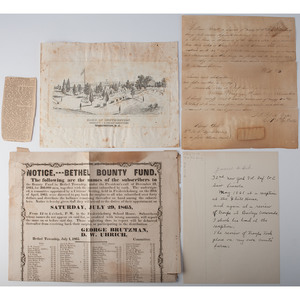 Unusual Civil War Associated Documents, Incl. Signature of Second to Last Surviving Union Soldier James A. Hard, Lot of 4