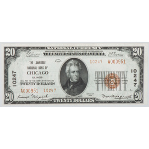 United States $20 National Bank Note, Chicago, Series of 1929