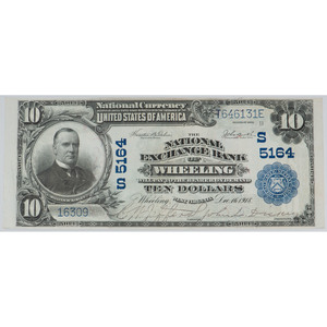 United States Blue Seal $10 Bill Bank Of Wheeling Series of 1902