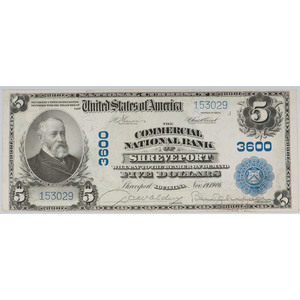 United States $5 National Bank Note Bank of Shreveport Series of 1902