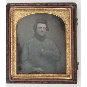 Sixth Plate Daguerreotype of a Man Wearing a Blue Work Shirt