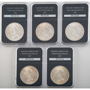 United States Uncirculated Peace Silver Dollars, Lot of Five