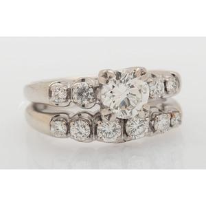 14 Karat White Gold Diamond Soldered Wedding Set