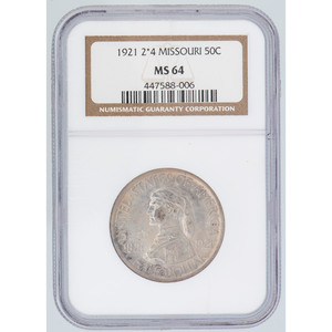 United States Missouri Centennial Commemorative Half Dollar 1921 2*4, NGC MS64
