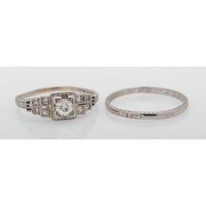 Platinum Art Deco Diamond Wedding Set