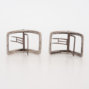Early American Coin Silver Shoe Buckles, Daniel Dupuy