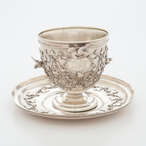 Rare Tiffany & Co. Sterling Bird and Ivy Pattern Cup and Saucer