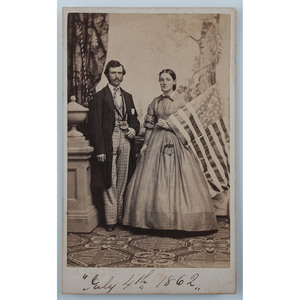 Patriotic CDV of Man and Woman with Flag, Dated July 4, 1862