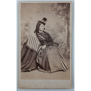 Patriotic CDV of a Vivandiere with American Flag and Wooden Drum Canteen