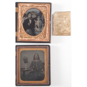 Intriguing Pair of Sixth Plate Ambrotypes, Plus