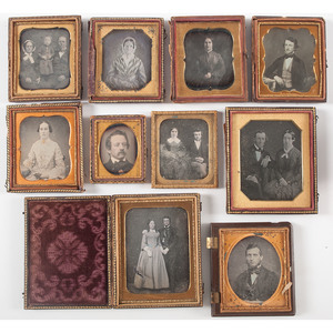 Collection of Ten Daguerreotypes of Men, Women, and Children