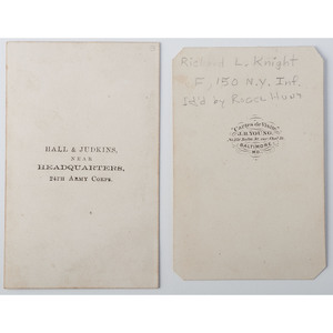 CDV of Richard L. Knight, 150th New York, Plus View of Soldier with Hall & Judkins, 24th Corps Imprint