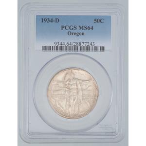 United States Oregon Trail Memorial Commemorative Half Dollar 1934-D, PCGS MS64