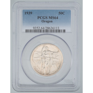 United States Oregon Trail Memorial Commemorative Half Dollar 1939, PCGS MS64
