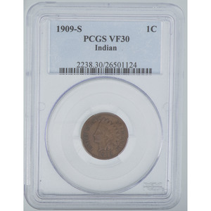 United States Indian Head Penny 1909-S, PCGS VF30