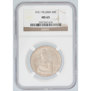 United States Pilgrim Tercentenary Commemorative Half Dollar 1921, NGC MS65