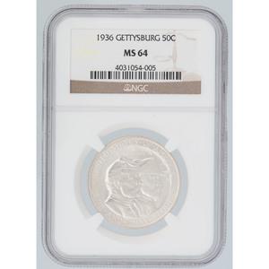 United States Gettysburg Anniversary Commemorative Half Dollar 1936, NGC MS64