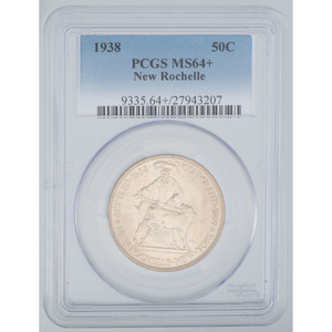United States New Rochelle 250th Anniversary Commemorative Half Dollar 1938, PCGS MS64+