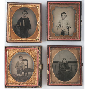 Four Charming Sixth Plate Ambrotypes of Children