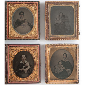 Sixth Plate Ambrotypes of Mothers with Babies, Lot of 4