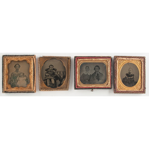 Collection of Ambrotypes Showcasing Children and Families, Lot of 8